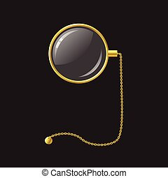 doré, monocle, à, chaîne, -, moderne, vecteur, réaliste,...