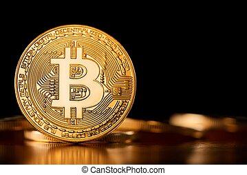 doré, montré, introduire, tendance, bord, argent., bitcoin, cryptocurrencies, une, avenir, virtuel, fond, sien, autre