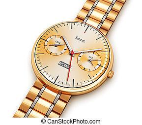 doré, montre, luxe, intelligent