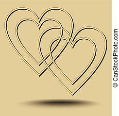 doré, motif, amour, minimaliste, lumière, deux, chevaucher, ondulé, luxe, fond, cœurs, éléments, gaufré