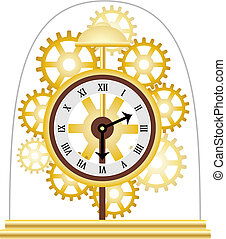 doré, multiple, squelette, horloge, vecteur, engrenages
