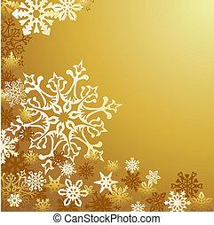 doré, noël, fond, flocons neige