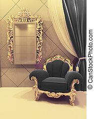doré, noir, baroque, royal, intérieur, luxueux, tapisserie ...