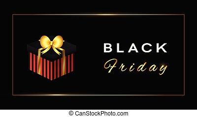 doré, noir, conception, decoration., vendredi