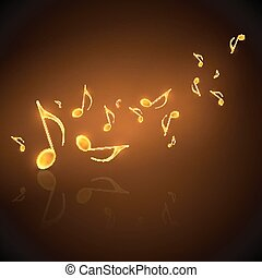 doré, notes, musique, fond, écoulement, musical