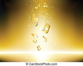 doré, notes, musique, fond, stars.
