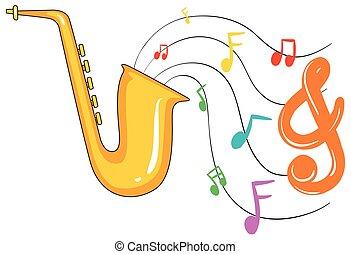 doré, notes, saxophone, fond, musique