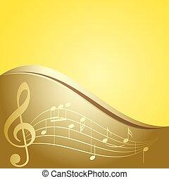 doré, notes, -, vecteur, musique, fond, courbé