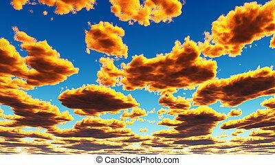 doré, nuages, jaune, fantasme