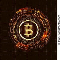 doré, numérique, argent., bitcoin, bit-coin, monnaie, btc, morceau, monnaie, futuriste