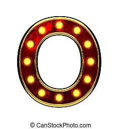 doré, o, isolé, illustration, lumières, white., lettre, 3d