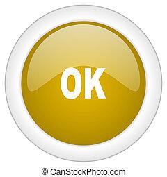 doré, ok, toile, mobile, app, illustration, bouton, conception, lustré, icône, rond