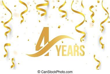 doré, or, couleur, nombre, 4ème, anniversaire, élément, ...