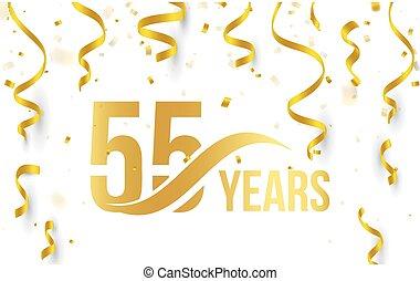 doré, or, couleur, nombre, anniversaire, élément, isolé, 55th, blanc, logo, illustration, anniversaire, rubans, fond, confetti, années, tomber, carte, icône, mot, 55, salutation, vecteur
