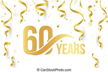 doré, or, couleur, nombre, anniversaire, 60, élément, 60th, isolé, blanc, logo, illustration, anniversaire, rubans, fond, confetti, années, tomber, carte, icône, mot, salutation, vecteur