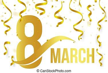 doré, or, couleur, printemps, nombre, élément, isolé, jour, 8, blanc, logo, mars, illustration, rubans, fond, international, confetti, tomber, carte, icône, mot, salutation, vecteur, womens