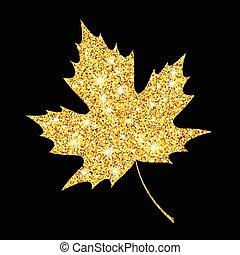 doré, or, leaf., illustration, automne, vecteur, automne, scintillement, textured, design.