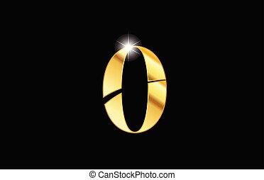 doré, or, métal, nombre, métallique, 0, zéro, conception, logo, icône