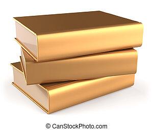 doré, or, trois, manuel, 3, livres, jaune, vide, pile