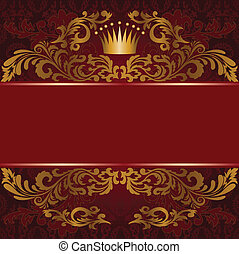 doré, ornement, arrière-plan rouge