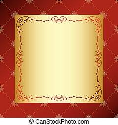 doré, ornement, rhombe, vecteur, cadre, arrière-plan rouge, vendange