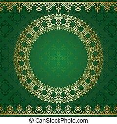 doré, -, ornement, sombre, vecteur, arrière-plan vert