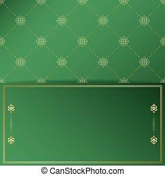 doré, ornement, vecteur, cadre, arrière-plan vert, vendange