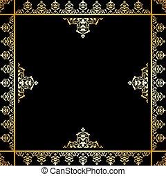 doré, -, ornement, victorien, vecteur, arrière-plan noir