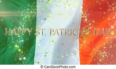 doré, patricks, drapeau, mot, heureux, fond, jour,...