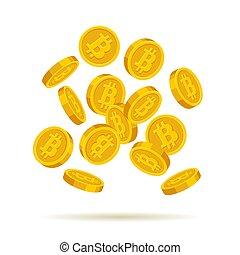 doré, pièces, bitcoin, arrière-plan., vecteur, blanc