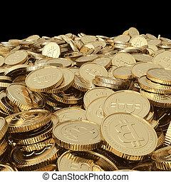 doré, pièces, bitcoin, balck