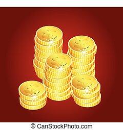 doré, pièces