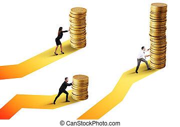 doré, pièces., concept, croissance financière, tas, hommes affaires, mouvements, investissement