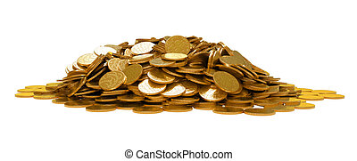 doré, pièces, isolé, tas