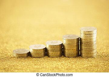 doré, pièces, levée