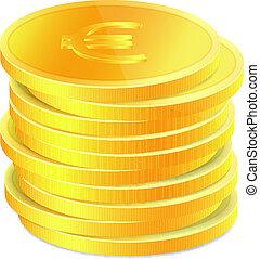 doré, pièces, pile