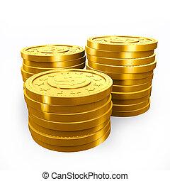 doré, pièces., pile