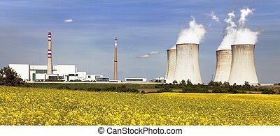 doré, plante, puissance, nucléaire, dukovany, champ,...