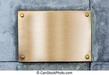 doré, plaque, ou, plaque, fait, de, bronze, sur, vendange, mur