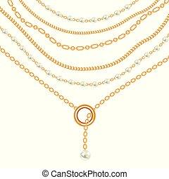 doré, poires, métallique, fond, necklace., blanc, chaînes