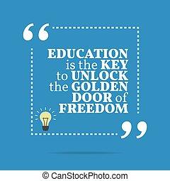 doré, porte, inspirationnel, freedom., motivation, quote., ouvrir, clã©, education