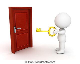 doré, porte, tenue, caractère, clã©, devant, 3d, fermé