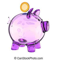 doré, pourpre, verre, vide, translucide, banque pièce monnaie, porcin