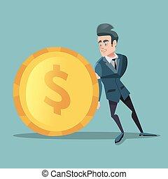 doré, poussées, grand, concept., argent., illustration, vecteur, coin., homme affaires, investissement, homme
