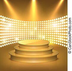 doré, prime, éclairé, or, fête, lumières tache, podium, étape