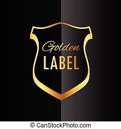 doré, prime, symbole, étiquette, conception, écusson