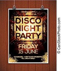 doré, projecteurs, affiche, fond, disco, gabarit, nuit, fête, briller