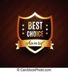 doré, récompense, choix, étiquette, écusson, mieux
