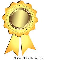 doré, récompense, ruban, (vector)
