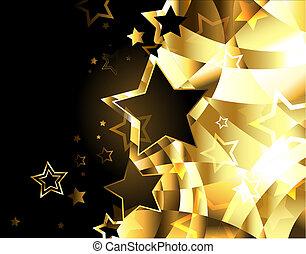 doré, résumé, fond, étoiles